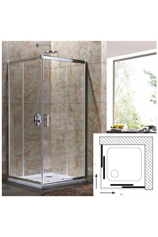 Καμπίνα μπάνιου τετράγωνη με είσοδο από γωνία με συρόμενα φύλλα Oia 10 Clear fe57991a629